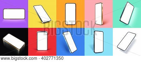 Template For Mobile App Presentation, Smartphone With Realistic Shadow On Solid Color Background Vec