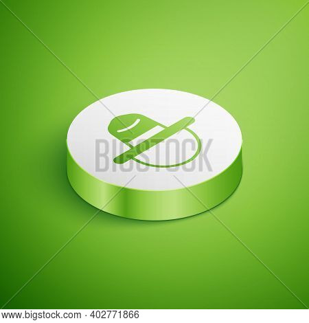 Isometric Canadian Ranger Hat Uniform Icon Isolated On Green Background. White Circle Button. Vector