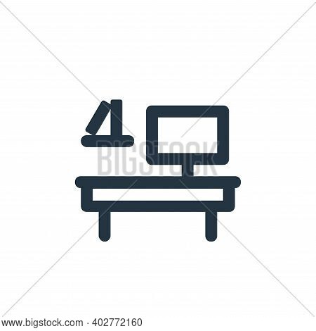 office table icon isolated on white background. office table icon thin line outline linear office ta