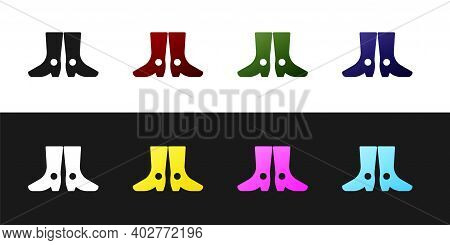 Set Ukrainian National Footwear Icon Isolated On Black And White Background. Traditional Ethnic Boot