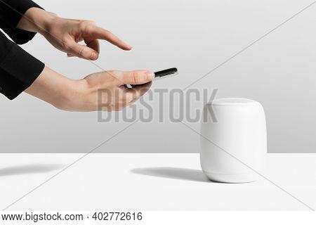Wireless white smart speaker mockup digital device