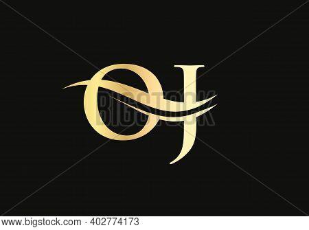 Initial Gold Letter Oj Logo Design. Oj Logo Design With Modern Trendy