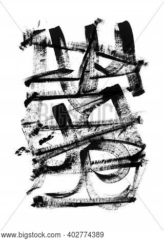 Black Grunge Brush Strokes. Paint Spots. Abstract Lines On White Paper