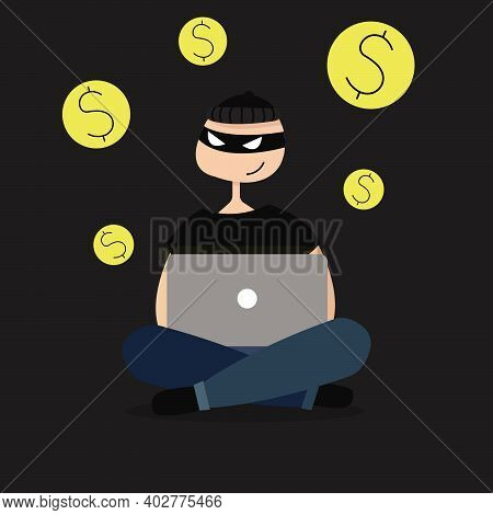 An Illustration Of A Caucasian Internet Scammer With A Laptop. Flat Design. Isolated.
