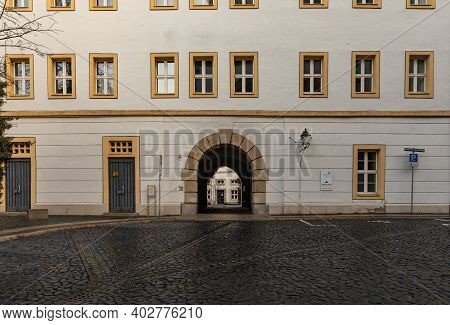 Zgorzelec Gorlitz January 27 2020 Facade Of Old Tenement House At Cathedral Square