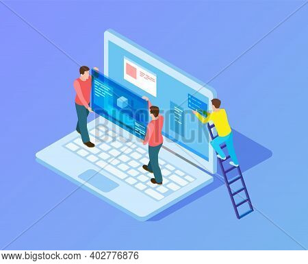 Web Interface Upgrade. Web Developers, Programmers At Work. Isometric People Working With Laptop, Co