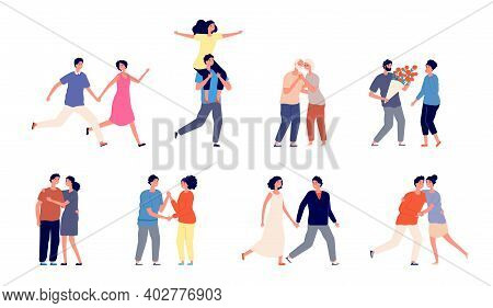 Romantic Couple Characters. Happy Couples, Romance Adult Hugging In Love. Smiling People Walking, Is