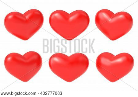 Realistic Red Hearts. Romantic 3d Heart, Greetings Love Symbols. Difference Valentine Day, Birthday