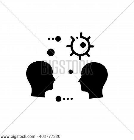 Close Contact Spread Glyph Icon. Disease Spreading Concept. Covid19, Virus Disease, Influenza Airbor