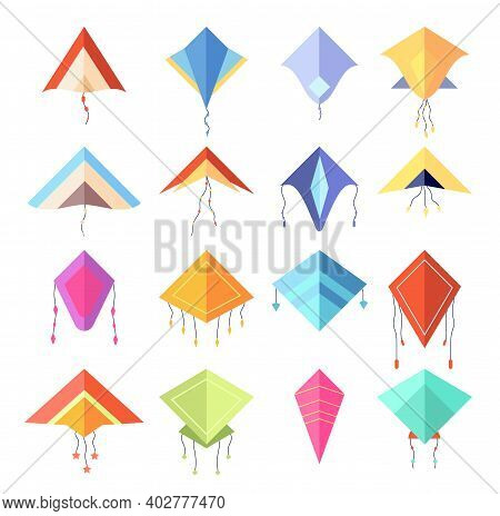 Color Kite. Geometric Forms Rhombus, Cartoon Flying Bright Toys. Isolated Kids Summer Game, Festival
