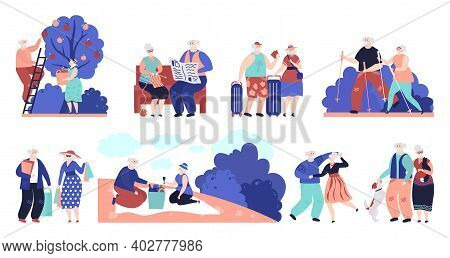 Elderly People. Seniors Outdoor, Old Person Walking Dog. Man Woman Fun Activities, Sport And Shoppin