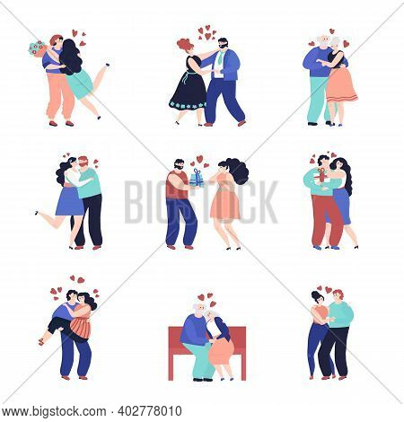 Dating Characters. Adult Happy Couple, People In Love Together. Romantic Hugging Man Woman, Outdoor