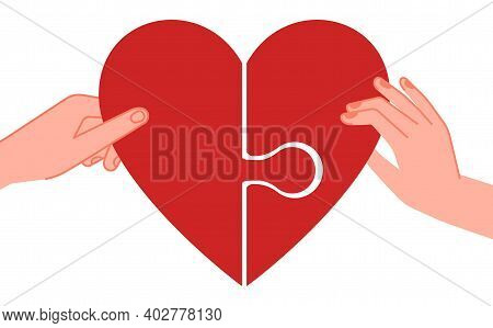 Connected Hearts. Find Love, Hands Holding Half Of Red Heart Puzzle. People Feelings Metaphor, Passi