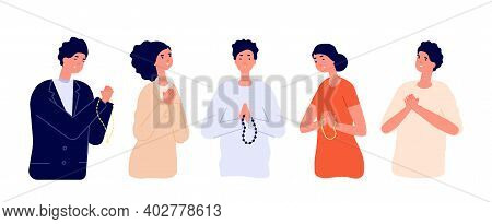 People Pray. Say Please, Apologize Man Woman. Cartoon Praying Young Persons With Hopeful Sad Express
