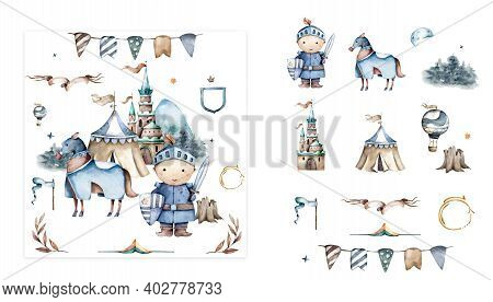 Set With Hand Drawn Isolated Colored Doodles On The Theme Of Kingdom On White Color. Set Of Fairy Ta
