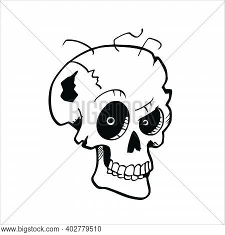 Human Skull Vector Icon On White Background. Human Skull, Human Head, Isolated Objects.