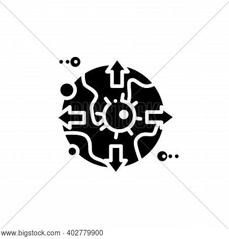 Global Virus Spread Glyph Icon. Disease Spreading Concept. Covid19 Pandemic, Infection Transfer. Inf