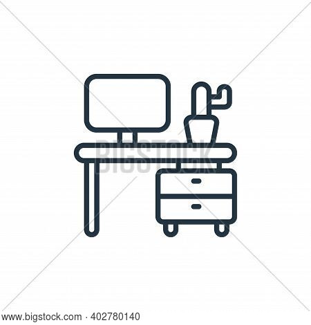 desk icon isolated on white background. desk icon thin line outline linear desk symbol for logo, web
