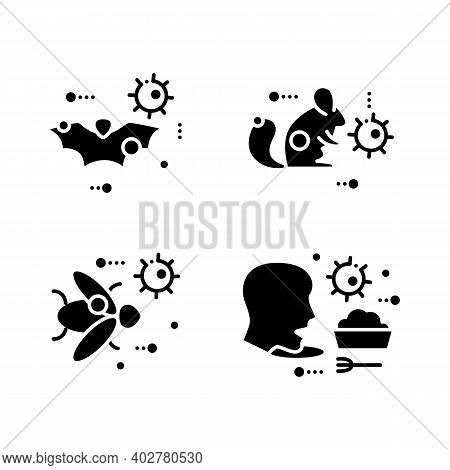 Disease Spread Concept Glyph Icons Set. Covid19, Virus Disease Mutation And Transmission. Virus Carr