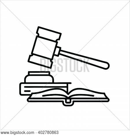 Solid Black White Icon For Law Hammer Book Justice, Syllogism Law, Honesty Act.