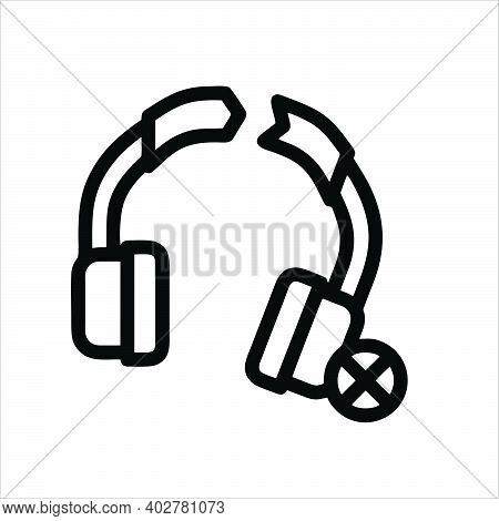 Earphones Icon. Earphones Vector Icon Outline For Web Design, Isolated On White Background