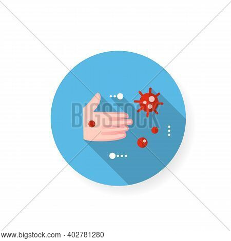 Contact Spread Flat Icon. Disease Spreading Concept. Covid19, Virus Disease, Influenza Or Flu Transm