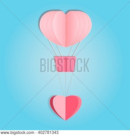 Paper Hot Air Balloon With Heart Isolated On Blue Background. Happy Love And Valentine Day. Origami