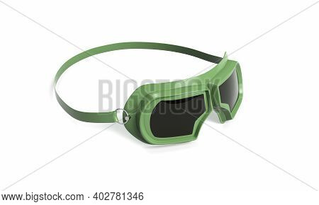 Aviator Goggles In Vintage Style, Front View Aviator, Motorist, Pilot, Single, Protective, 3d, Rende