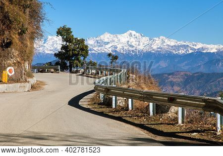 Mussoorie Road And Indian Himalaya, White Mountains, Uttarakhand India
