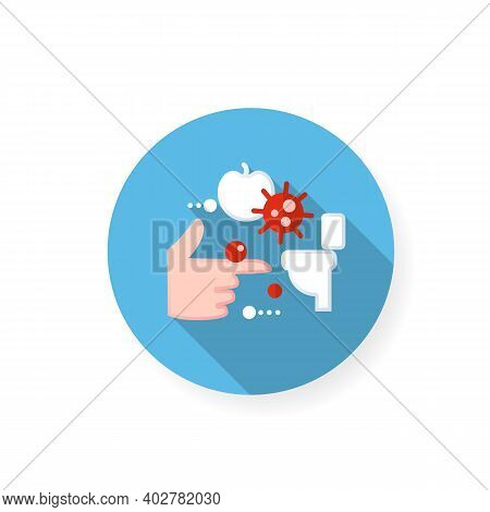 Fecal-oral Spread Flat Icon. Disease Spreading Concept. Covid19, Foodborne Bacterial Infection, Rota