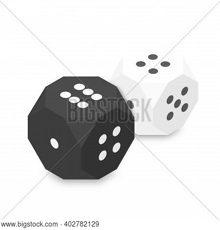 White And Black Dices, Flat 3d Isometric Style, Vector Illustration.