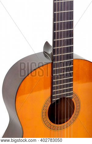 Beautiful wooden guitar on white background