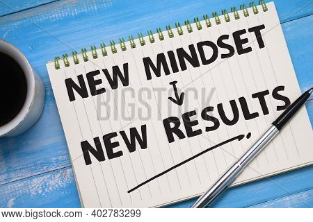 New Mindset New Result, Text Words Typography Written On Paper Against Wooden Background, Life And B