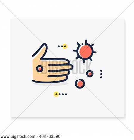 Contact Spread Color Icon. Disease Spreading Concept. Covid19, Virus Disease, Influenza Or Flu Trans