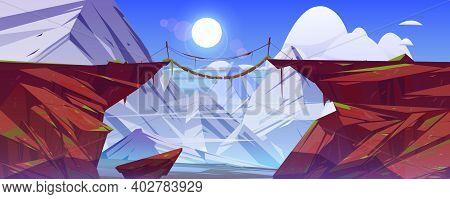Bridge Between Mountains Hang Above Cliff In Snowy Rock Peaks Landscape Background. Beautiful Scener