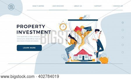 Property Investment Web Template. Couple Of Investors Await For Generating Profit From Long-term Inv