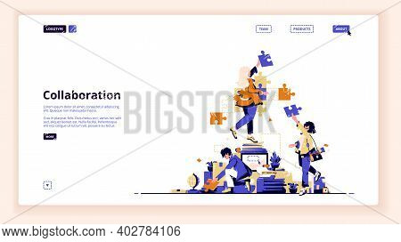 Teamwork Collaboration Landing Page. Business People Team Assembling Separated Puzzle Pieces. Cooper