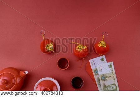 Asian Traditional Chinese Tea Culture With Chinese New Year Decoration Mandarin Orange On Red Backgr