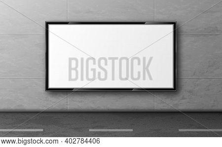 Street Billboard For Ad, Display Mockup Hang On Grey Tiled Wall Along Road. Blank White Lcd Screen,