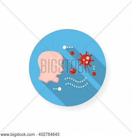 Airborne Spread Flat Icon. Disease Spreading Concept. Covid19, Virus Disease, Influenza Or Flu Trans