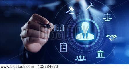 Attorney At Law. Lawyer Legal Advice Labor Law Business Concept.
