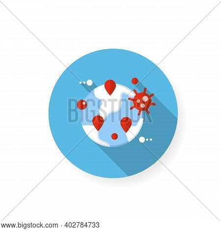Pandemic Map Flat Icon. Disease Spreading Concept. Covid19 Outbreak, Global Infection Transfer. Infe