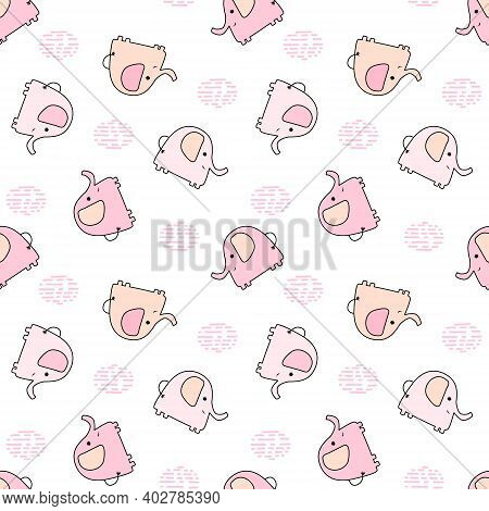 Seamless Pattern With Cute Multicolored Elephants On A White Background. Vector Baby Background Grea