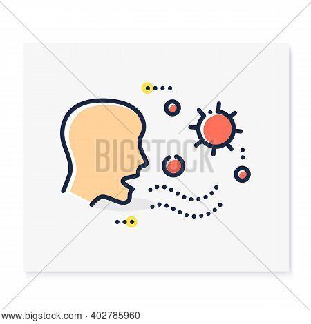 Airborne Spread Color Icon. Disease Spreading Concept. Covid19, Virus Disease, Influenza Or Flu Tran