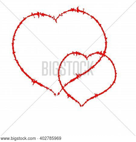 Two Scrawled Heart, Author Brush. Isolated On A White. With Space For Text Or Image. Eps10 Vector.