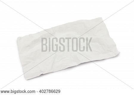 Used White Tissue Paper Isolate On White Background.