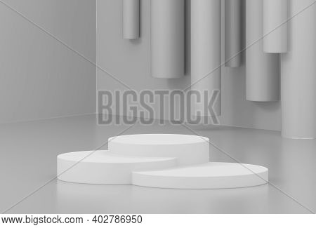 Minimal Product Showcase Scene With Podium On Abstract Background. Concrete Wall Background With Whi