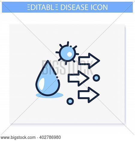 Droplet Spread Line Icon. Disease Spreading Concept. Covid19, Virus Disease, Influenza Or Flu Transm