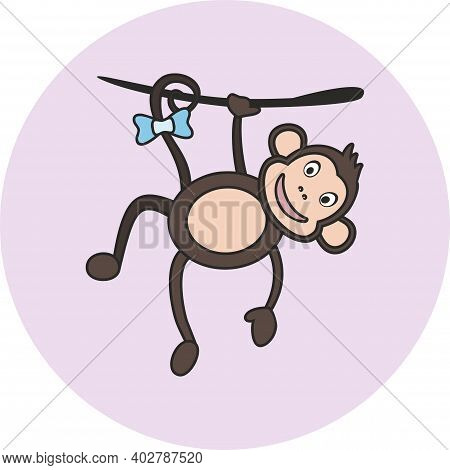 Illustration With A Jolly Monkey. Monkey With A Bow. Template For Kids Room, Packaging, Illustration