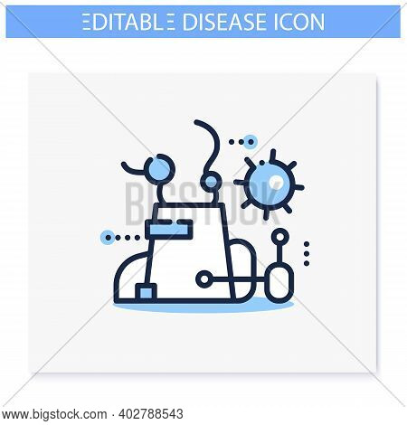 Contamination Spread Line Icon. Disease Spreading And Air Pollution Concept. Infection Transfer In P